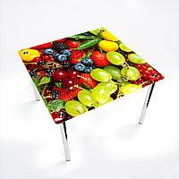 Стол обеденный на хромированных ножках КвадратныйWood berry