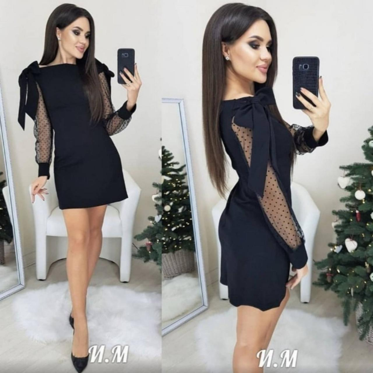 "Платье сетка горох на рукавах ""Melody""| Новинка"