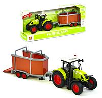 Игрушечный инерционный трактор.Фермерский игрушечный трактор с прицепом.