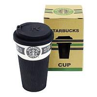 """Черный термостакан (термокружка, чашка) """"Starbucks"""" 9х15 см с крышкой поилкой"""