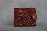 """Стильный кожаный кошелек ручной работы с авторским тиснением """"Птички"""", фото 1"""