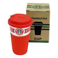 """Красный термостакан (термокружка, чашка) """"Starbucks"""" 9х15 см с крышкой поилкой"""