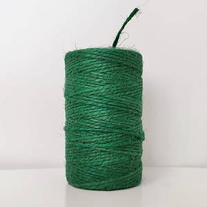 Джутовая пряжа цветная, 2 мм, 2 нити (зеленый)