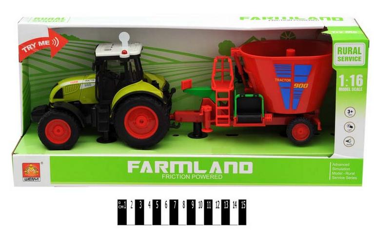 Іграшковий музичний трактор з причепом.Інерційний дитячий трактор.Іграшка трактор для дітей світло,звук.
