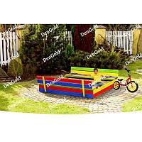 Деревянная песочница с лавочками для детей 120 х 120 см (дерев'яна пісочниця з лавочками для дітей)