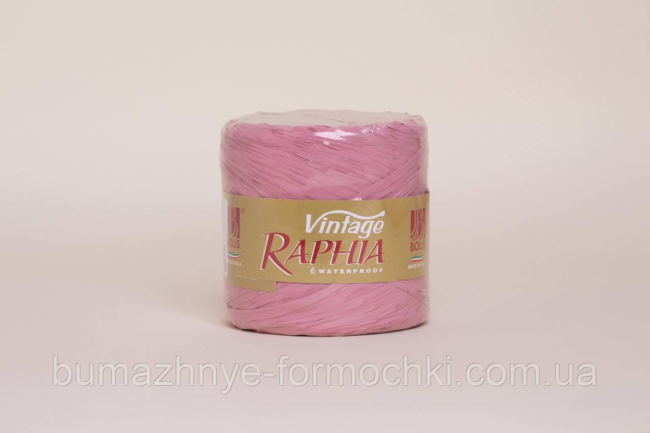 Рафия для декора, пыльная роза