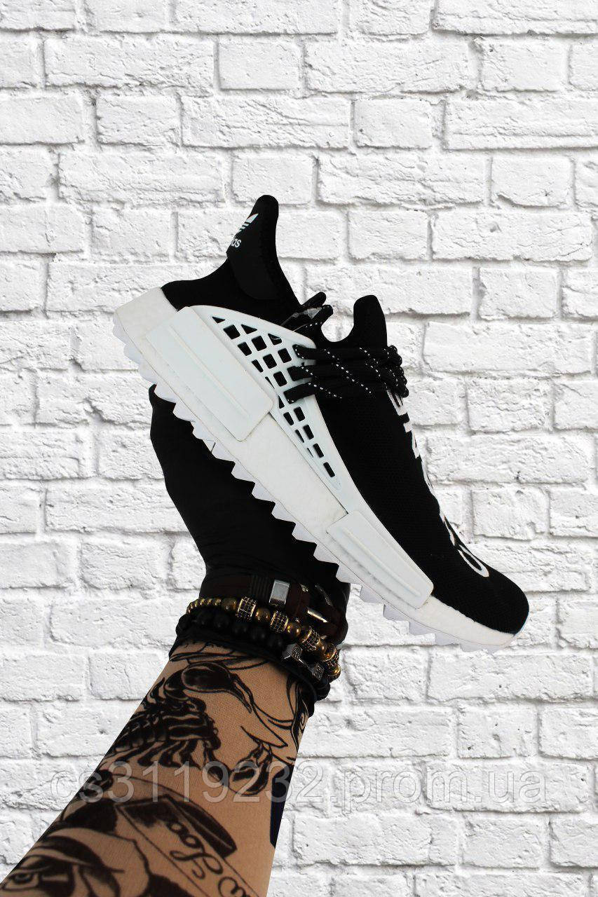 Женские кроссовки  Adidas NMD Human Race Black White (черно-белые)