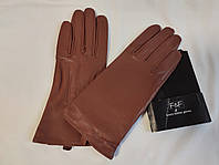 Перчатки женские кожаные коричневые F&F (размер M/L)