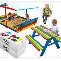 Деревянная песочница с навесом + стол с лавками 120 х 120 см (дерев'яна пісочниця з лавочками для дітей)