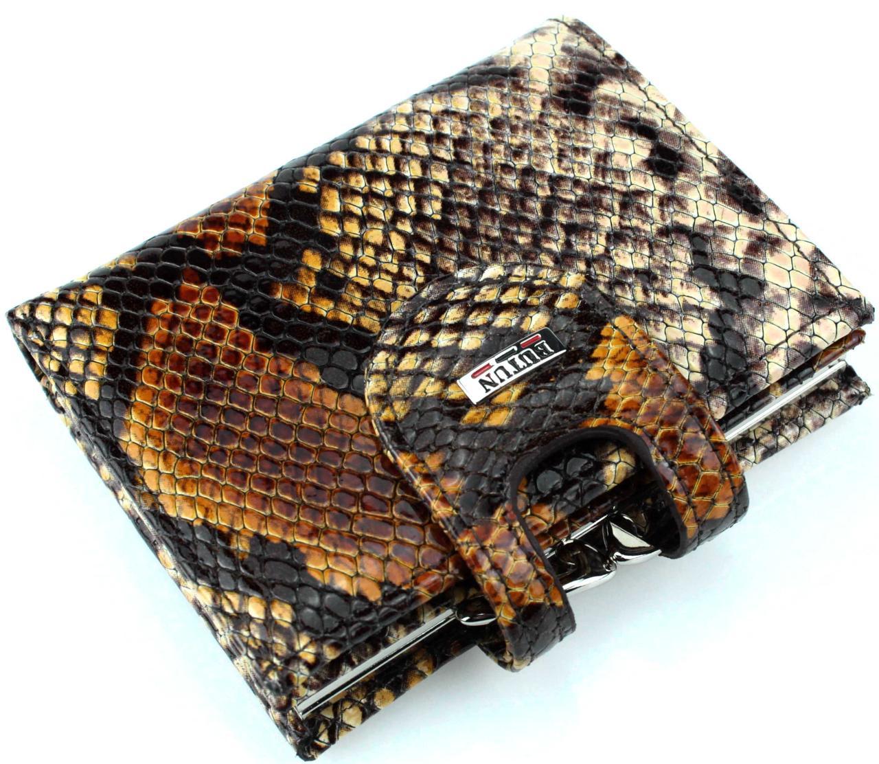 "Женский кошелек Butun 593-038-016 кожаный коричневый ""под рептилию"""