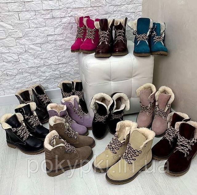 Женские зимние ботинки Тимберленды светло-сиреневые кожаные