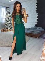 Комплект:   Зеленый вечерний костюм с шелковой юбкой, фото 1