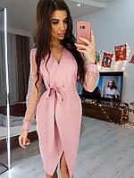 Розовое платье на запах с рукавами из сетки -добби, фото 1