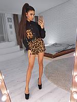 Комплект:  Черная рубашка с леопардовым карманом и шортами, фото 1