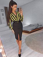 Комплект: Черная юбка карандаш с вырезом и боди в полоску, фото 1
