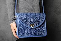 Эксклюзивная синяя женская сумочка через плечо, тисненый авторский узор, фото 1