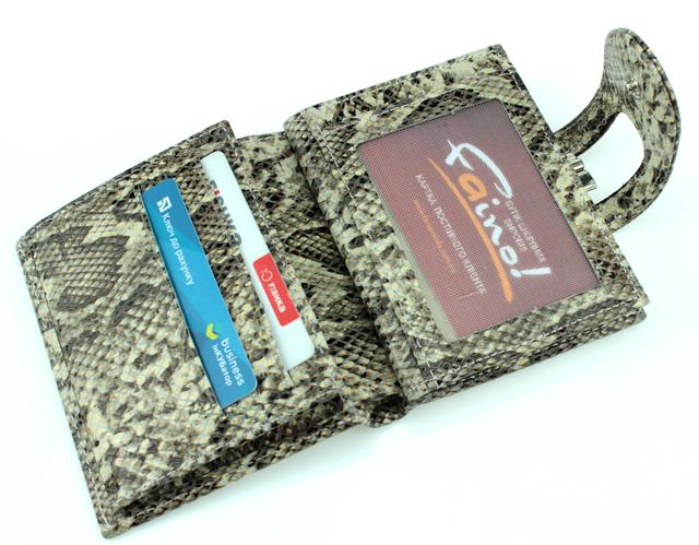 "Женский кошелек Butun 593-038-007 кожаный бежевый ""под рептилию"""