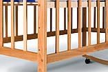 Детская кроватка из бука на колесах с качанием ТМ Гойдалка, фото 2