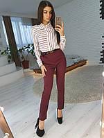 Комплект: Рубашка в полоску и зауженные к низу бордовые брюки, фото 1