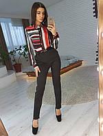 Комплект: Шелковая блузка в полоску и зауженные к низу брюки, фото 1