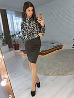 Комплект: Блузка с леопардовым принтом и черная юбка, фото 1