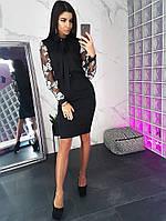 Комплект: Черная блузка с завязкой на шее и юбка карандаш, фото 1