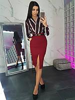 Комплект: Бордовая юбка карандаш с вырезом и боди в полоску, фото 1