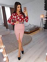 Комплект: Розовая юбка с разрезом и боди в цветочный принт, фото 1