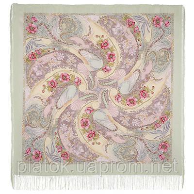 Ласковый прибой 1413-1, павлопосадский платок (шаль, крепдешин) шелковый с шелковой бахромой