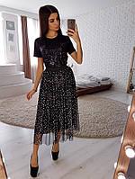 Комбинируемая юбка из сетки с фойлом и футболка с отделкой с пайетками, фото 1