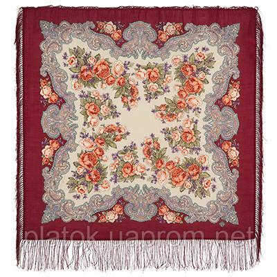 Румянец 1540-5, павлопосадский платок шерстяной  с шелковой бахромой