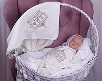 """Летний набор для новорожденных детей на выписку """"Queen"""" молочный, фото 1"""