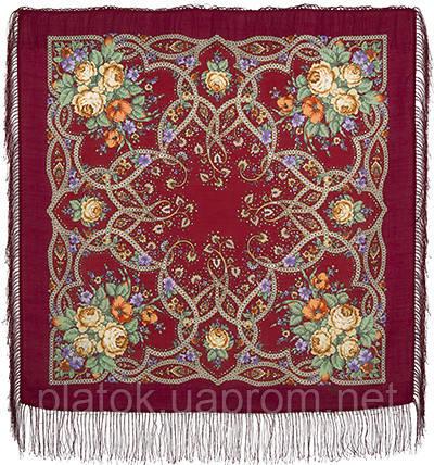 Марья-искусница 1606-5, павлопосадский платок шерстяной  с шелковой бахромой