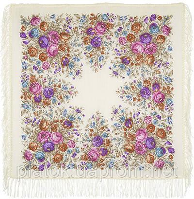 Сад души 1599-2, павлопосадский платок шерстяной с шерстяной бахромой