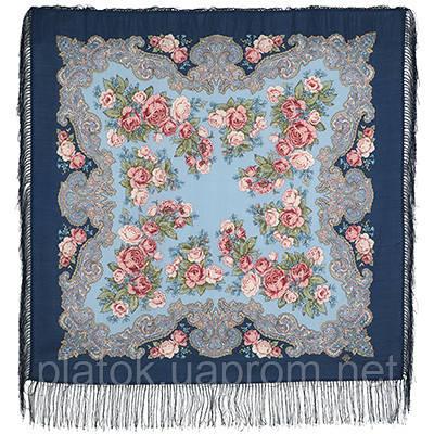 Румянец 1540-14, павлопосадский платок шерстяной  с шелковой бахромой