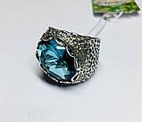 Перстень в сріблі з великим блакитним фианитом Форос, фото 4