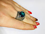 Перстень в сріблі з великим блакитним фианитом Форос, фото 6