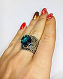 Перстень в сріблі з великим блакитним фианитом Форос, фото 7