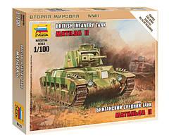 Британский средний танк Матильда II. Сборная модель, сборка без клея. 1/100 ZVEZDA 6171