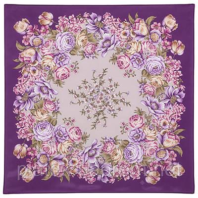Цветы для любимой 1595-15, павлопосадский платок (крепдешин) шелковый с подрубкой
