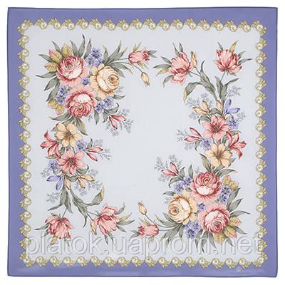 Нежное эхо 1601-2, павлопосадский платок (крепдешин) шелковый с подрубкой