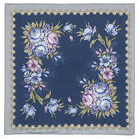 Нежное эхо 1601-14, павлопосадский платок (крепдешин) шелковый с подрубкой