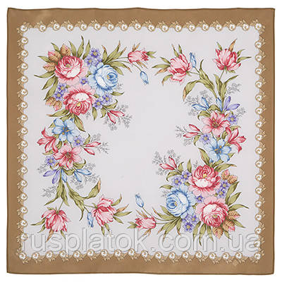 Нежное эхо 1601-16, павлопосадский платок шелковый (крепдешиновый) с подрубкой