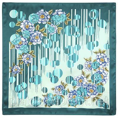 Притяжение любви 1588-12, павлопосадский платок (атлас) шелковый с подрубкой