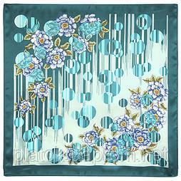 Тяжіння любові 1588-12, павлопосадский хустку (атлас) шовковий з подрубкой
