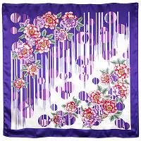 Притяжение любви 1588-15, павлопосадский платок (атлас) шелковый с подрубкой