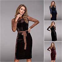Р 42-48 Вечернее короткое бархатное платье с гипюром  20930-1