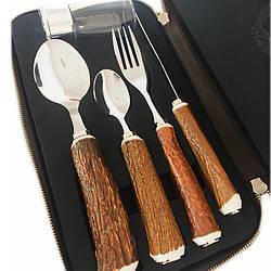 Набор «Охотничий обед» (нож, вилка, ложка, десертная ложка, рюмка) (187-0014FP)