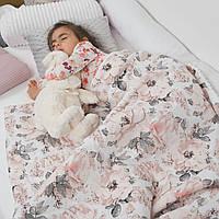 """Плед детский на плюше минки двусторонний, одеяло покрывало """"Пионы"""" 90*130см для девочки"""