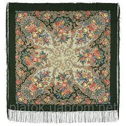 Страна чудес 1624-9, павлопосадский платок шерстяной (двуниточная шерсть) с шелковой бахромой